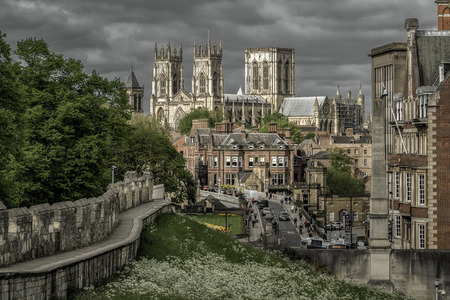 YORK, ENGLAND - MAY 15:  Cathedral called York minster and historic walls in the centre of city on May 15, 2018 in York