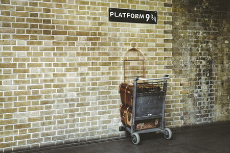 LONDON, UNITED KINGDOM - MAY 16: Platform 9¾ at King's Cross Station on May 16, 2018 in London Editorial
