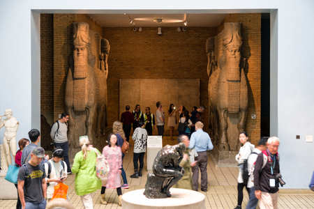 LONDON, UNITED KINGDOM - MAY 15: Sumerian exhibit in British museum on May 15, 2018 in London
