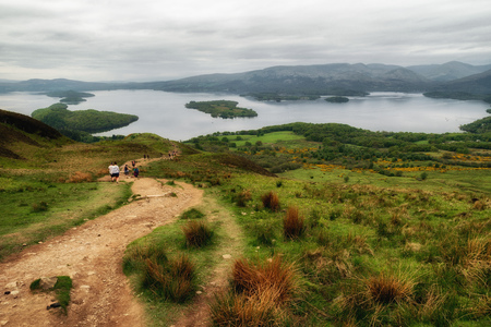 hiking in Scotland. View from Conic hill. Lake Loch Lomond at background