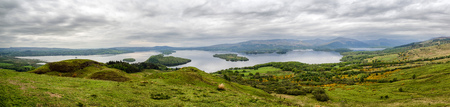 Panoramic landscape view from Conic hill. Lake Loch Lomond, Scotland