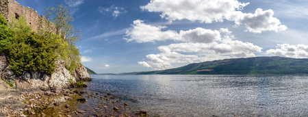 Panoramic view on Urquhart casle and Loch Ness, Scotland