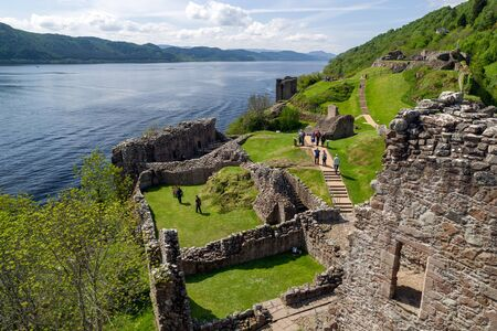 Ruins of Urquhart castle and lake Loch Ness, Scotland Editorial
