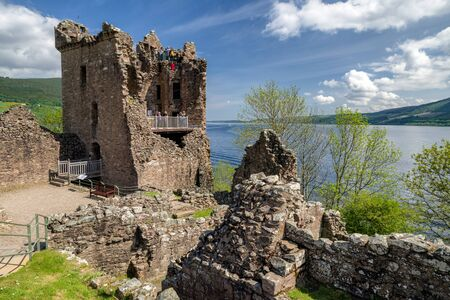 Ruins of Urquhart castle and Loch Ness, Scotland Editorial