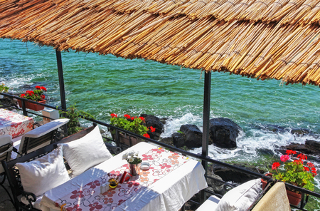 Lovely restaurant near rocky shores with beautiful view