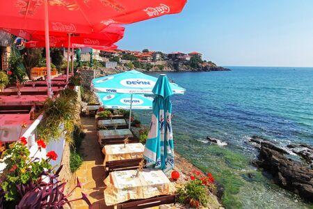 Lovely restaurant near rocky shores at town Sozopol, Bulgaria
