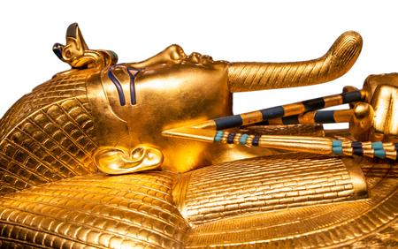 Isolated golden egyptian Tutankhamun's sarcophagus