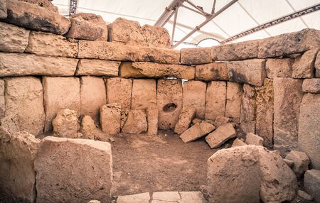Megalithic temple complex  - Hagar Qim - archeological exacavations from neolitic era in Malta island 報道画像