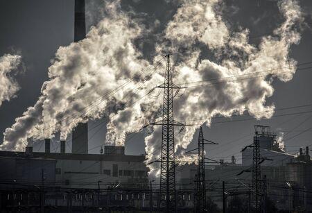 Air pollution - factory Mondi at town Ruzomberok, Slovakia