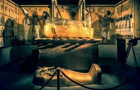 BRATISLAVA, SLOVAKIA - DECEMBER 14: King Tut tomb and sarcophagus at the Tutankhamun exhibition on December 14, 2014 in Bratislava Editorial