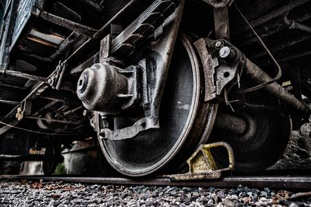Detail of wheel chock on train. Waggon undercarriage