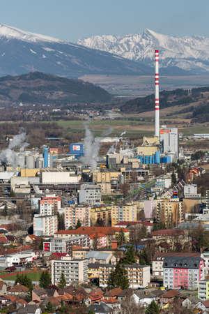 RUZOMBEROK, SLOVAKIA - MARCH 27: Factory Mondi at town and hill Krivan on March 27, 2019 in Ruzomberok Stock Photo - 149028356