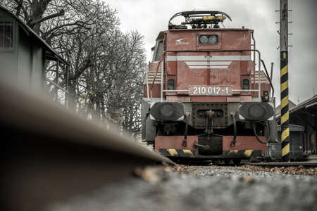 Locomotive on rails in Museum of transport In bratislava, Slovakia