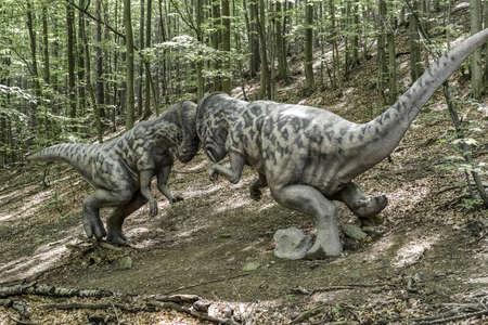 KOSICE, SLOVAKIA - MAY 12: Model of dinosaur Pachycephalosaurus in Dinopark at Zoo Kosice on May 12, 2019 in Kosice