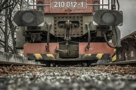 Detail of locomotive on rails Stock Photo - 149028359