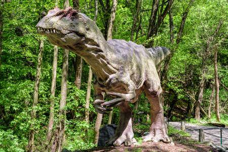 KOSICE, SLOVAKIA - MAY 12: Model of dinosaur Allosaurus in Dinopark at Zoo Kosice on May 12, 2019 in Kosice