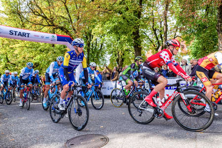 RUZOMBEROK, SLOVAKIA - SEPTEMBER 20: Professional cyclist at start of race Tour de Slovakia on July 20, 2019 in Ruzomberok Editorial