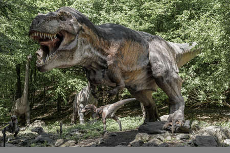 KOSICE, SLOVAKIA - MAY 12: Models of dinosaur in Dinopark at Zoo Kosice on May 12, 2019 in Kosice Stock Photo - 149028364