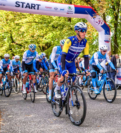 RUZOMBEROK, SLOVAKIA - SEPTEMBER 20: Professional Cyclist Yves Lampaer from team Deceuninck - Quick-Step at race Tour de Slovakia on July 20, 2019 in Ruzomberok Stock Photo - 149028365