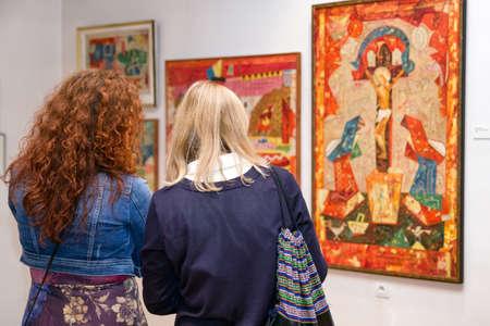 RUZOMBEROK, SLOVAKIA - SEPTEMBER 19: Visitors looking at Ludovit Fulla painting in his gallery on September 19, 2019 in Ruzomberok Stock Photo - 149028367