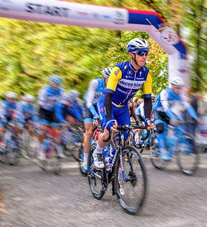 RUZOMBEROK, SLOVAKIA - SEPTEMBER 20: Professional Cyclist Yves Lampaer from team Deceuninck - Quick-Step at race Tour de Slovakia on July 20, 2019 in Ruzomberok Stock Photo - 149028369