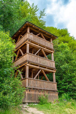Lookout tower in Sedlo Beskyd, Slovakia. Stock Photo - 152634111