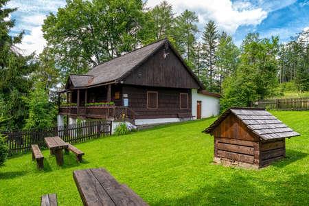 Hviezdoslavova hajovna - old wooden cottage in Orava museum, Slovakia Editorial