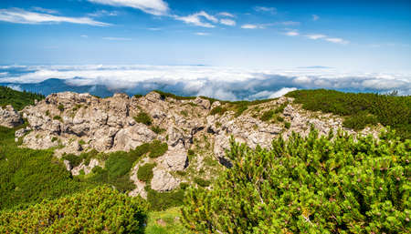 Rock formations called Radove skaly and Hill Sivy Vrch in Western Tatras, Slovakia. Inversion weather Stock Photo