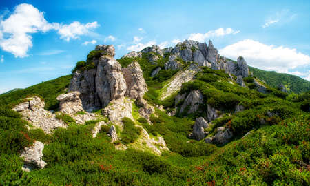 Rock formations called Radove skaly and Hill Sivy Vrch in Western Tatras, Slovakia.