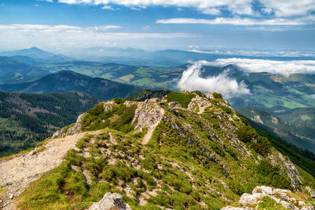 View from top of the hill Sivy vrch in Western Tatras at  Slovakia on region Orava. Stock Photo