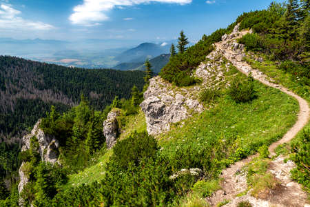 Hiking trail in mountains.  Summer landscape in Western Tatras in Slovakia