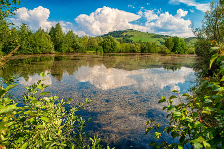 Reflection of clouds on water surface. Pond called Parnicke rybniky, Slovakia. Yellow kelp inside Stock Photo