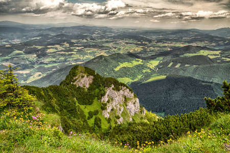 Beatiful landscape view on region Orava from hill Velky Choc, Slovakia. Mountain landscape Stock Photo