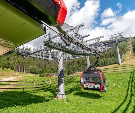 HORNA LEHOTA, SLOVAKIA - AUGUST 24, 2020: Cabin of ropeway in resort Chopok-Juh