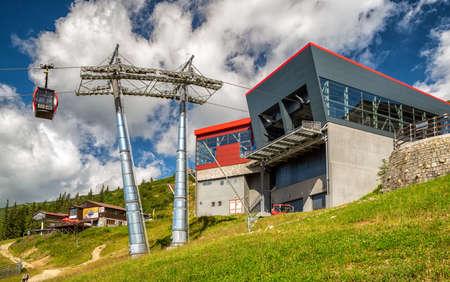 HORNA LEHOTA, SLOVAKIA - AUGUST 24, 2020: Cabin and modern designed ropeway station in resort Chopok-Juh