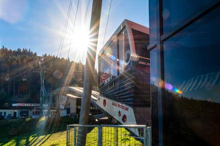 DEMANOVSKA DOLINA, SLOVAKIA - AUGUST 21, 2020: Funicular Twinliner in resort Jasna in Low Tatras mountains