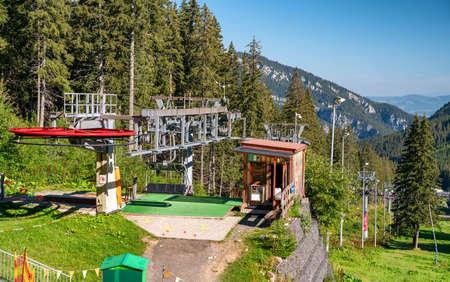 DEMANOVSKA DOLINA, SLOVAKIA - AUGUST 21, 2020: Ski lift chair in resort Jasna in Low Tatras mountains