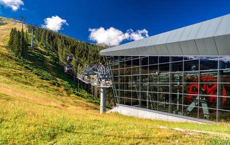 DEMANOVSKA DOLINA, SLOVAKIA - AUGUST 24, 2020: Station of ropeway Funitel in resort Jasna in Low Tatras mountains