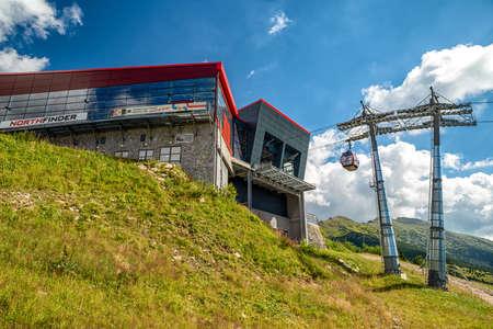 HORNA LEHOTA, SLOVAKIA - AUGUST 24, 2020: Cabin and modern designed cableway station in resort Chopok-Juh