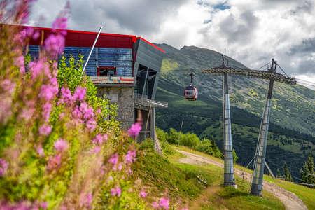 HORNA LEHOTA, SLOVAKIA - AUGUST 24, 2020: Modern designed ropeway station in Low Tatras mountains
