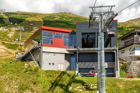 HORNA LEHOTA, SLOVAKIA - AUGUST 24, 2020: View from cabin of cableway on ropeway station in resort Chopok-Juh