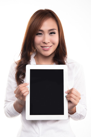 blank tablet: Beautiful asian woman with tablet and copy space on empty screen  - Beautiful asian woman, isolated on white background