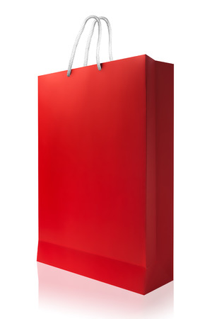 reflect: Red shopping bag with reflect and copy space