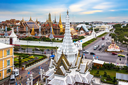 Grand Palace, Wat Phra Kaew   Lak Mueang, Bangkok, landmark of Thailand  - The Wat Phra Kaew or Temple of the Emerald Buddha is located in the historic centre, within the precincts of the Grand Palace Stock Photo