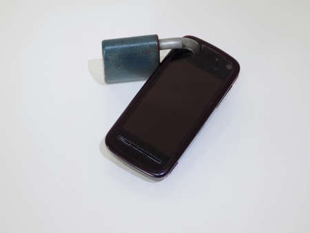 Data protection, cellphone with lock on the white background