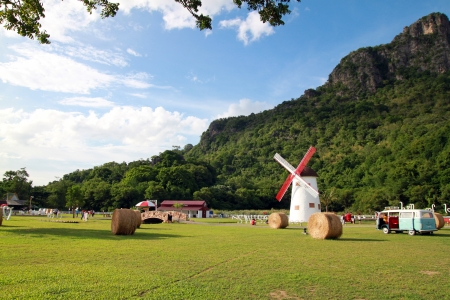 mill valley: Hay rolls Stock Photo