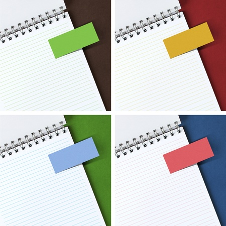 collection of note paper on notebook