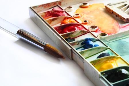 pallette: palette de l'aquarelle et Pinceau