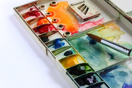 paintbox: watercolor palette and Paintbrush Stock Photo