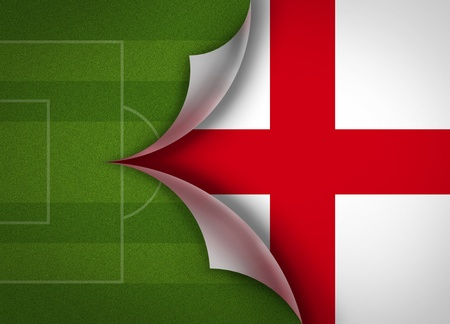 lay out: soccer field on england flag Stock Photo